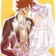 Pegasus Seiya and Saori by Eeriecrafts