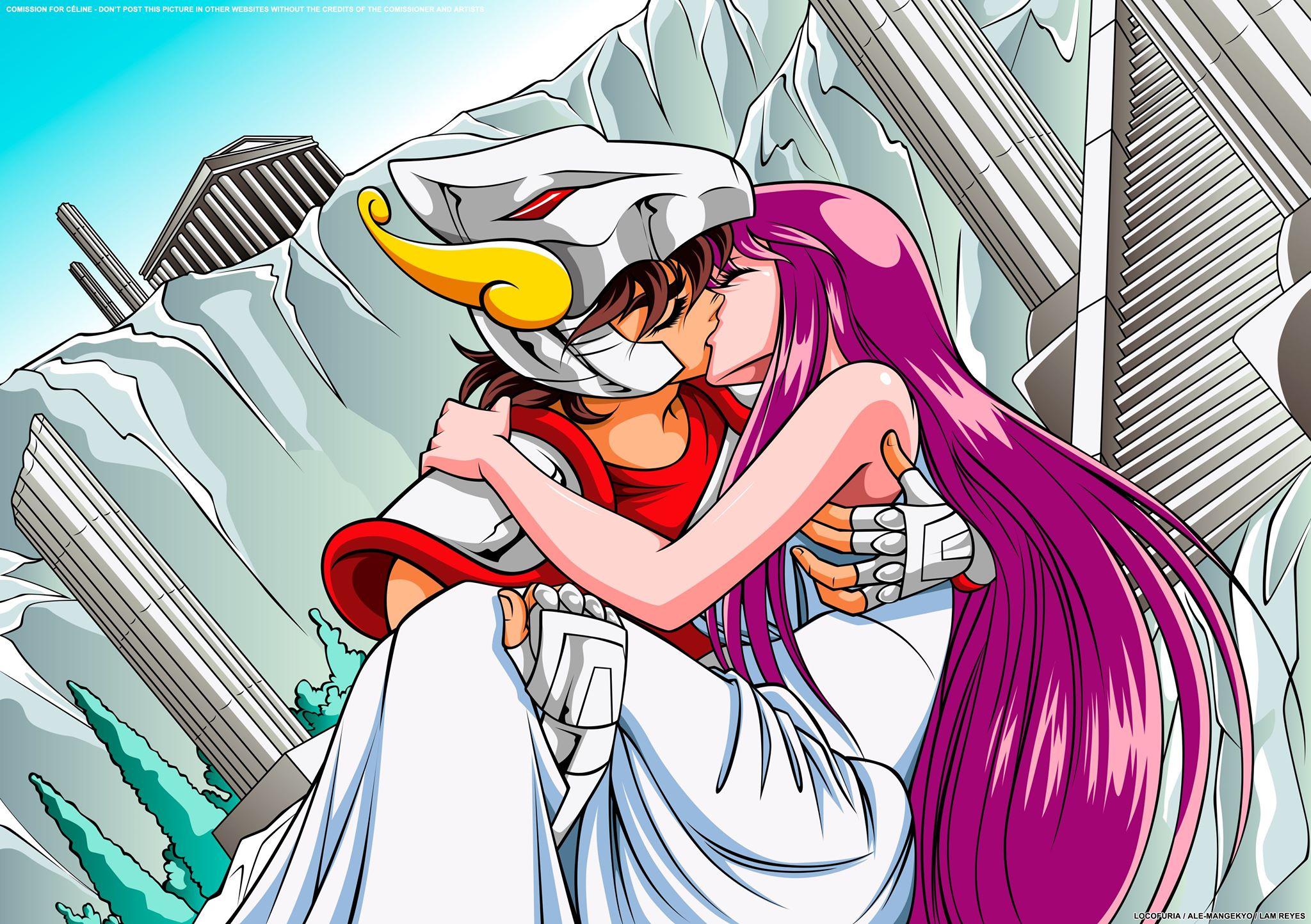 Seiya and Saori kissing