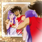 Seiya and Saori by psyclopathe